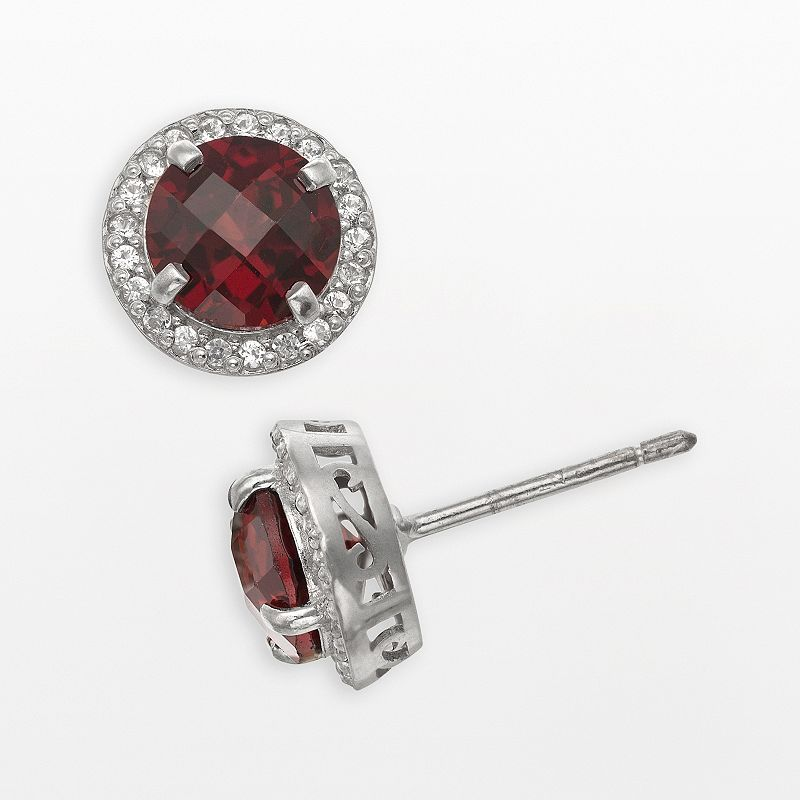 Sterling Silver Garnet and Lab-Created White Sapphire Halo Stud Earrings, Women's, Red