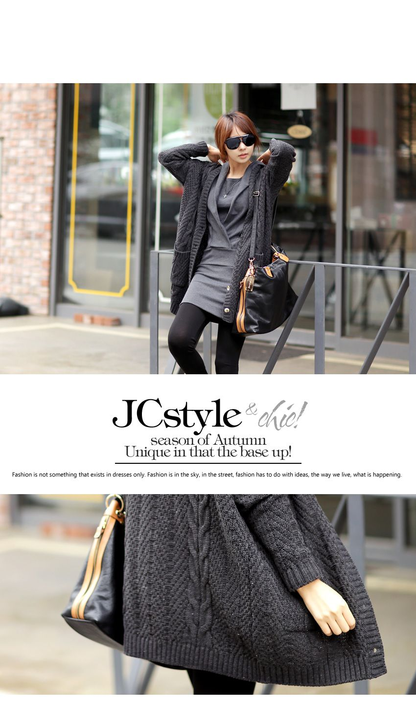 Button-Down Cable-Knit Long Cardigan - Jcstyle   YESSTYLE Canada