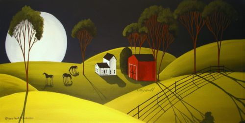 SOLD ! $99.00 or make an offer. Original Painting Folk Art Landscape Moon Shadows Horses Red Barn Farm Country | eBay