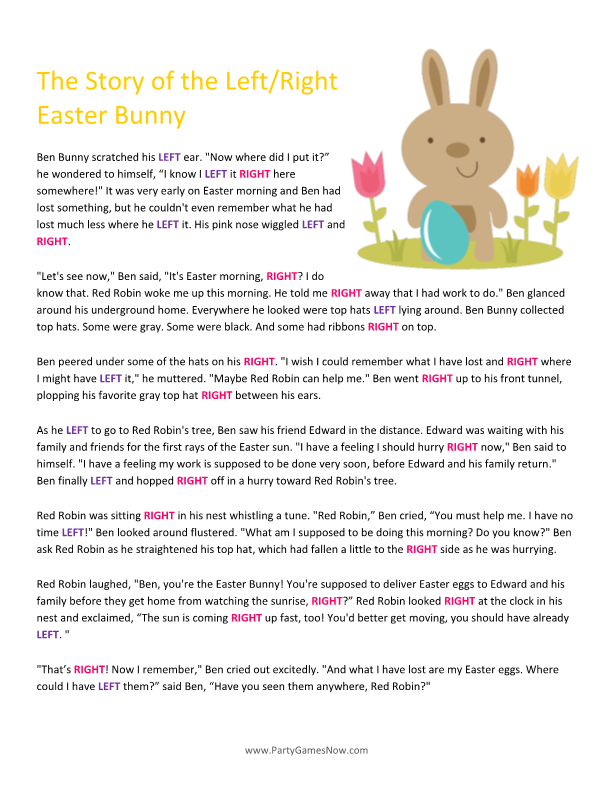 Free easter leftright game easter party games pinterest easter bunny leftright story easter games for adults easter games for kids printable easter games negle Choice Image