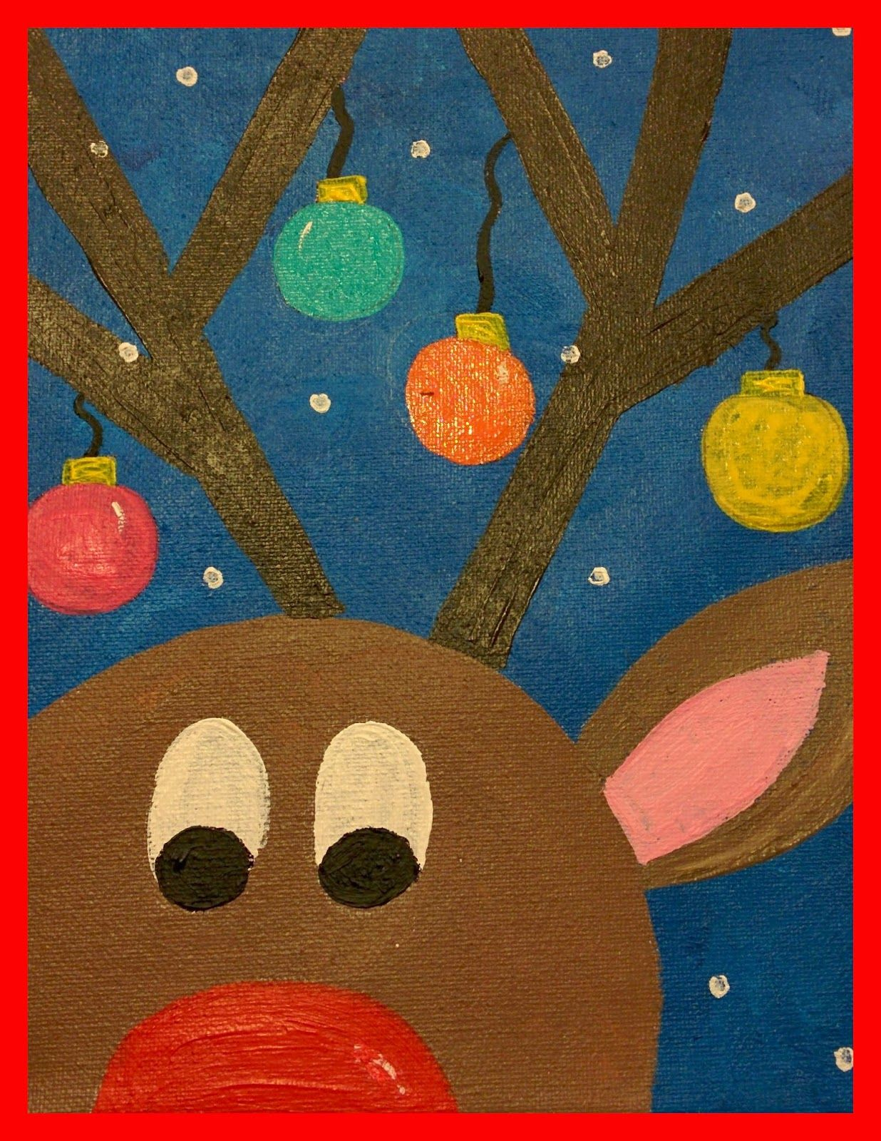 Christmas Art.Guided Art Reindeer On Canvas Teachers Pin Teachers