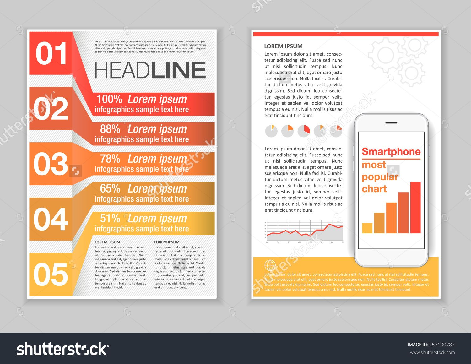 Brochure Template Design With Infographic Elements Charts