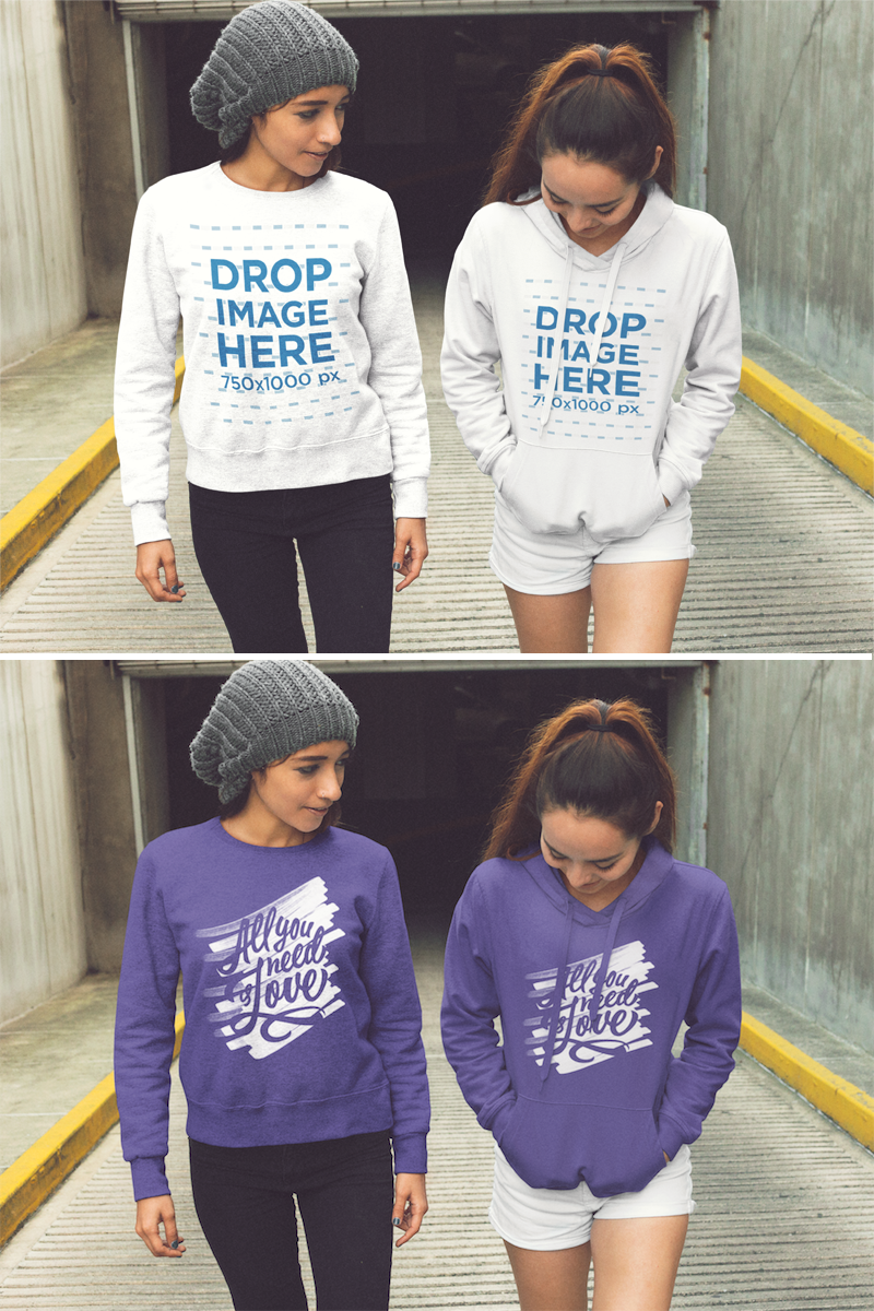 Download Two Pretty Girls Walking Out Of A Tunnel While Wearing A Crewneck Sweatshirt And A Pullover Hoodie With Matching De Clothing Mockup Hoodie Design Hoodie Mockup