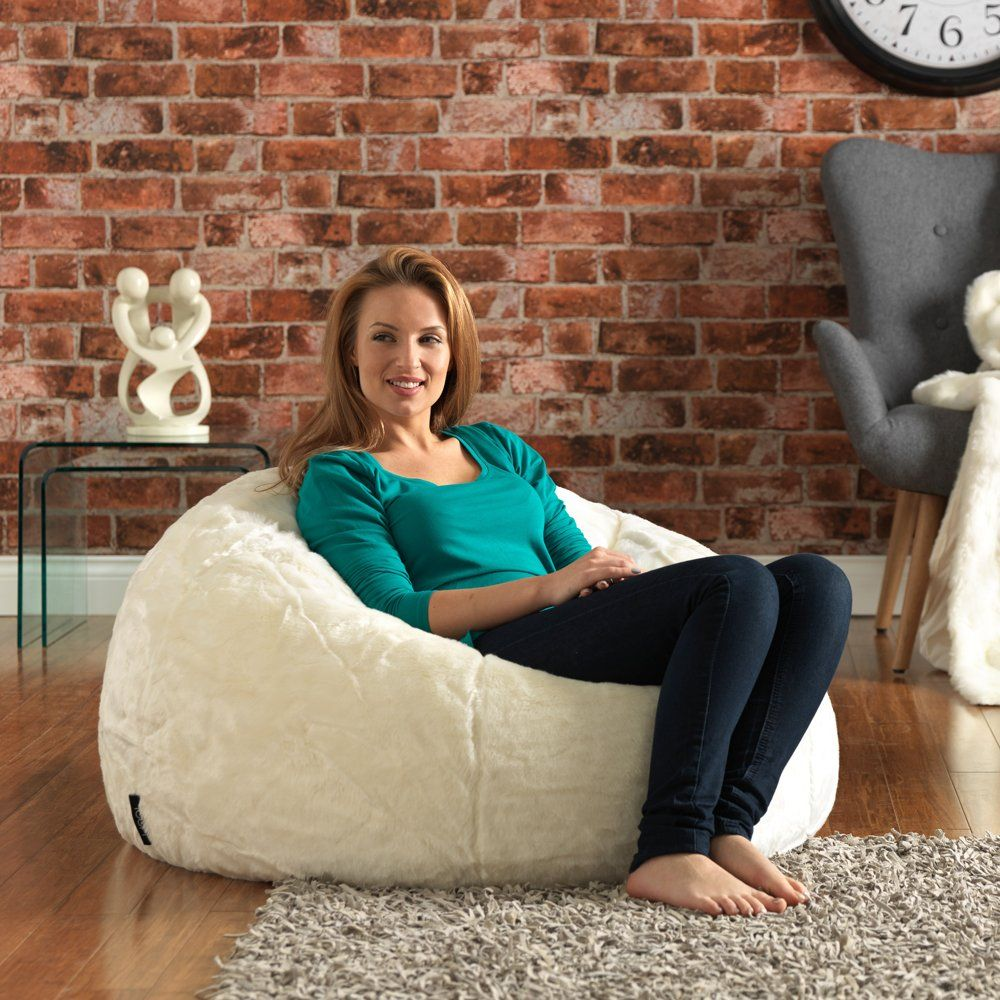 9e203acb1a ICON XL Panelled Faux Fur Bean Bag Chair - Extra Large Bean Bags NATURAL -  Large Designer Bean Bags  Amazon.co.uk  Kitchen   Home