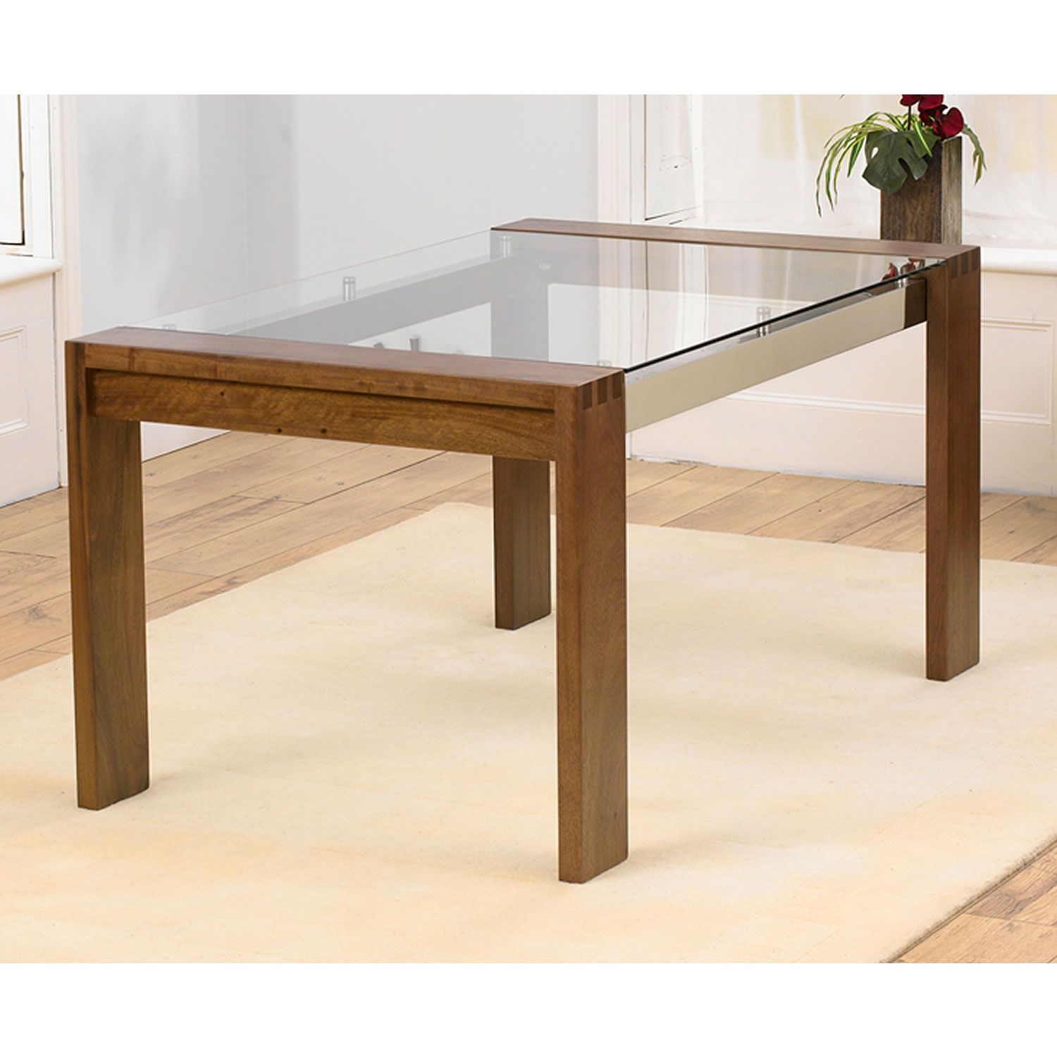 Venice Solid Walnut 150cm Dining Table With Glass Top A £