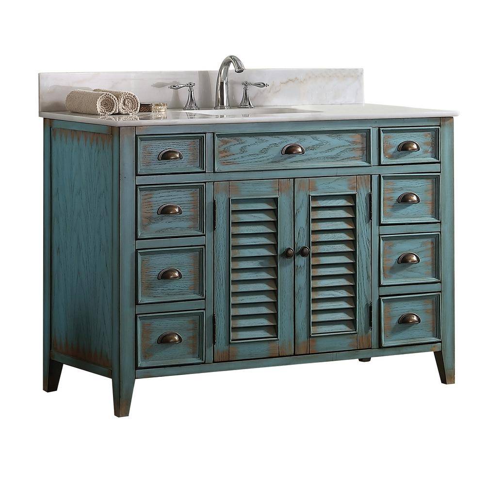 Palm Beach 46 5 In W X 21 75 In D Vanity In Distressed Blue With Marble Vanity Top In White With White Basin Mod884bl 47 Blue Bathroom Vanity Basement Bathroom Design Marble Bathroom Accessories