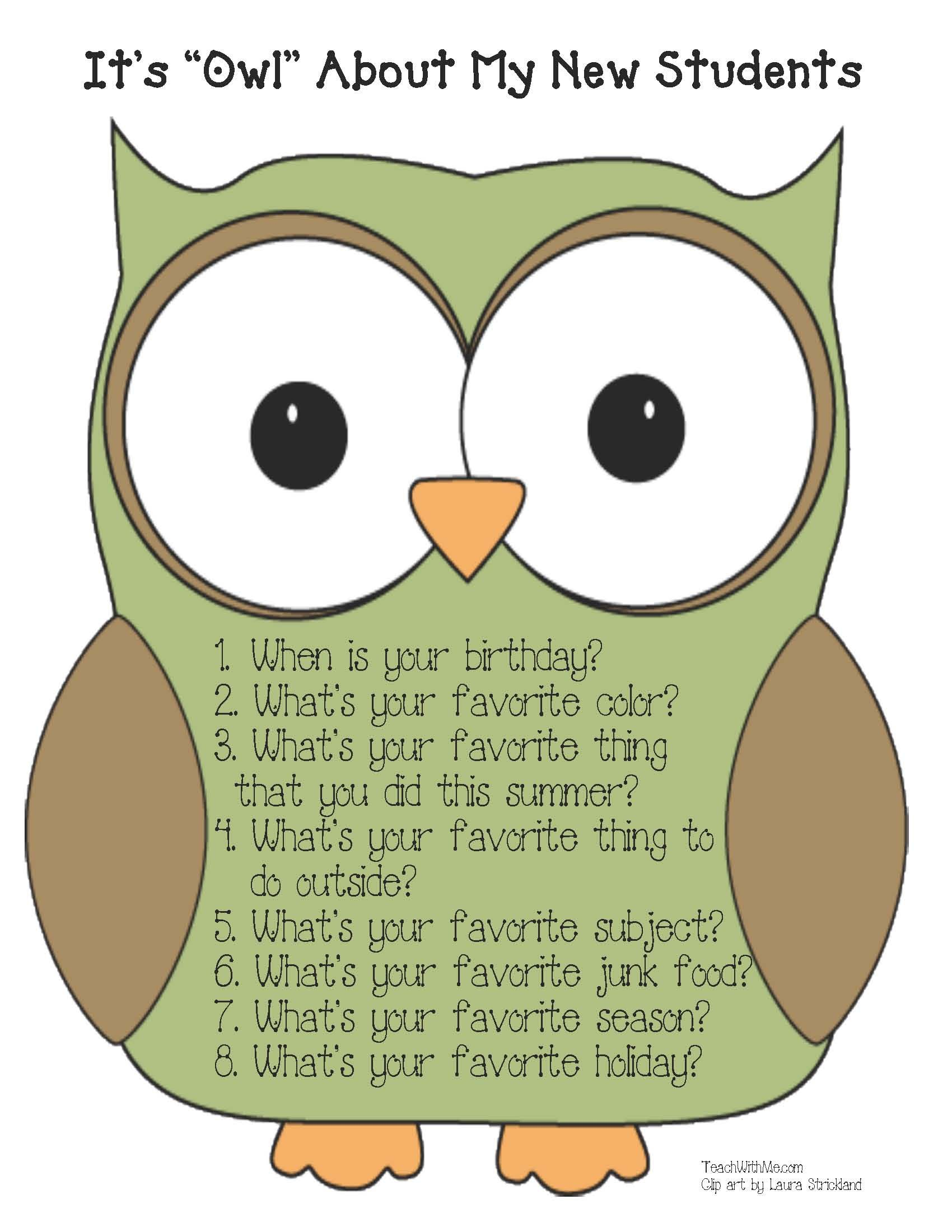 "back to school: it's ""owl"" about me icebreaker 