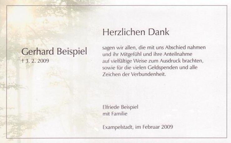 Trauerkarte Mit Waldmotiv Zur Bestattung Auch Fur Naturbestattung In 2020 Danke Sagen Danksagungen Trauer Trauer