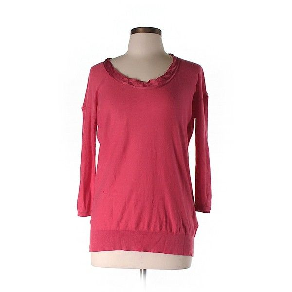 Pre-owned PureDKNY Pullover Sweater ($27) ❤ liked on Polyvore featuring tops, sweaters, coral, puredkny, red top, coral sweater, red sweater and pullover sweater