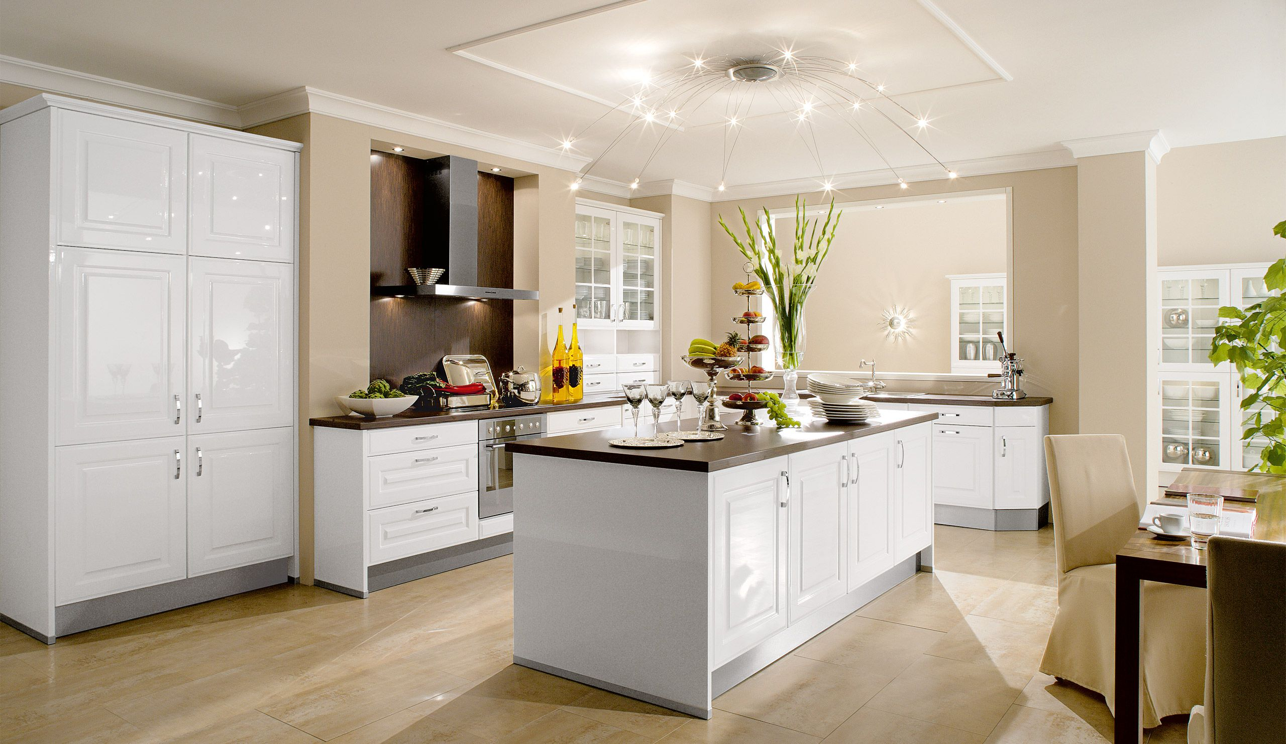 küche mit kochinsel Deko baum kies innen edelstahl weiss | Ideen ...