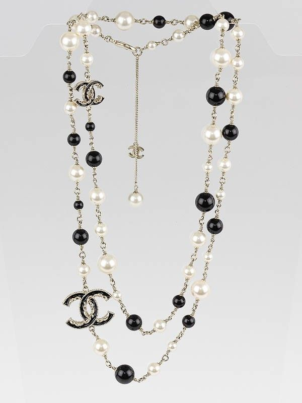 1b381568dca1b Chanel White/Black Beaded and CC Logo Long Necklace in 2019 ...