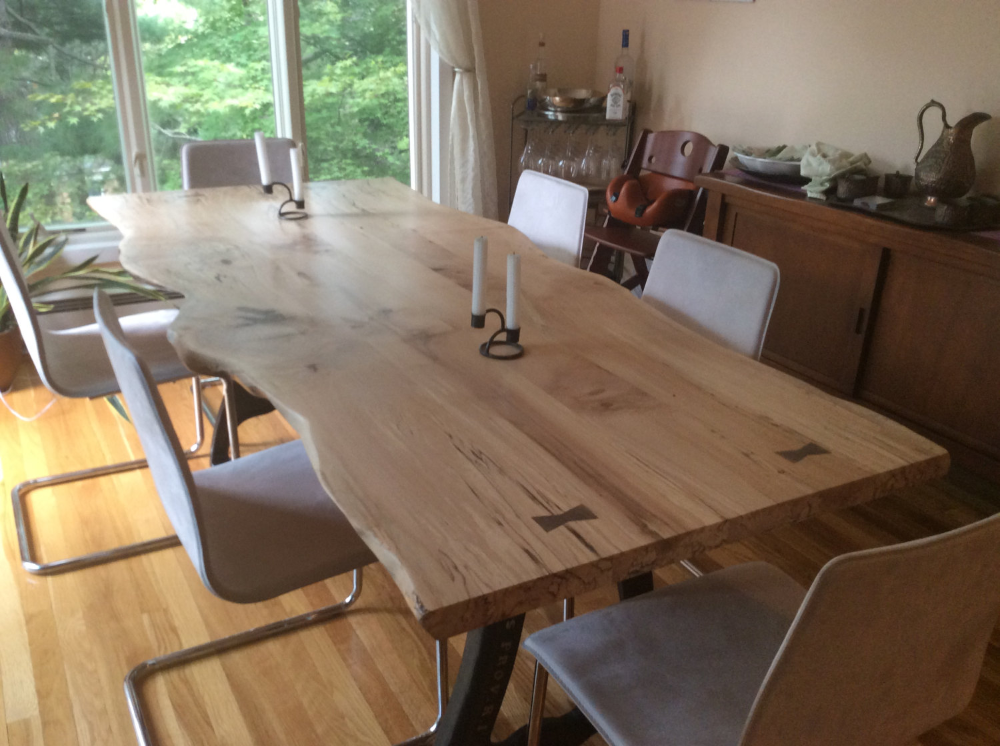 Live Edge Dining Table Local Spalted Hard Maple In 2020 Dining