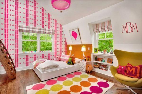 Babyzimmer mit dachschräge ideen  kinderzimmer mit dachschräge einrichten mädchen rosa bunt tapeten ...