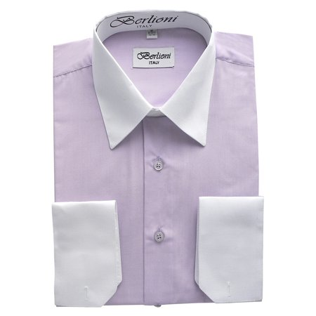 Berlioni Men/'s Convertible French Cuff Solid Color Slim Fit Dress Shirt