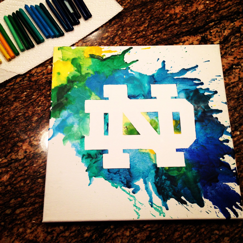 Melted Crayon Art University of Notre Dame DIY ND