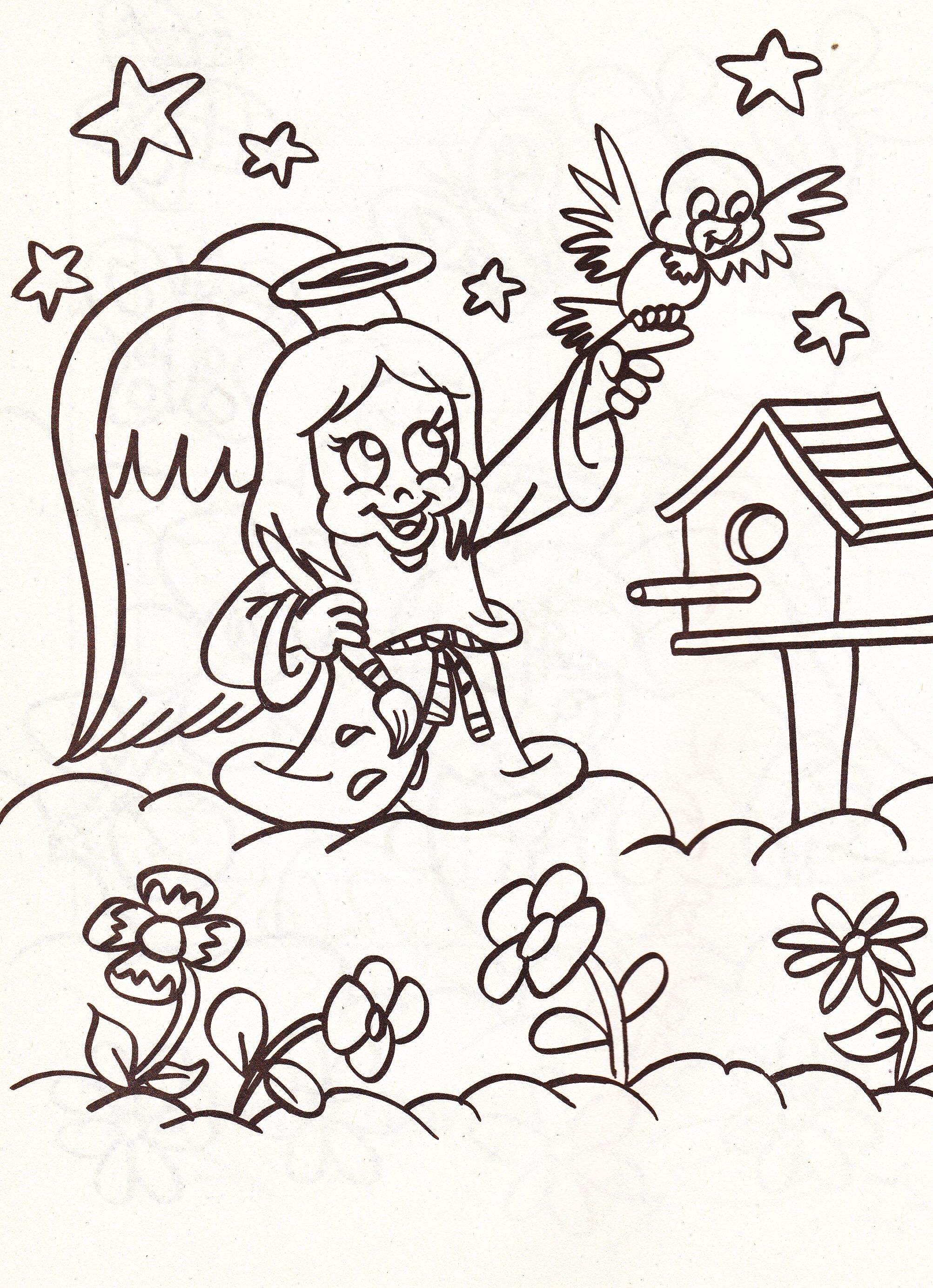 Coloring book pages angels - From An Angels Coloring Book Girl Angel Painting With Bird Birdhouse And Flowers In