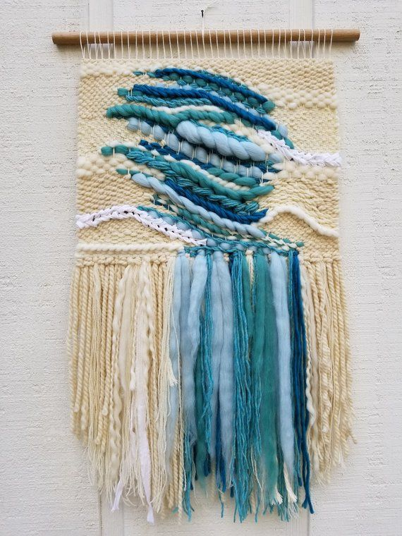Large Woven Wall Hanging Aquamarine Gemstone March