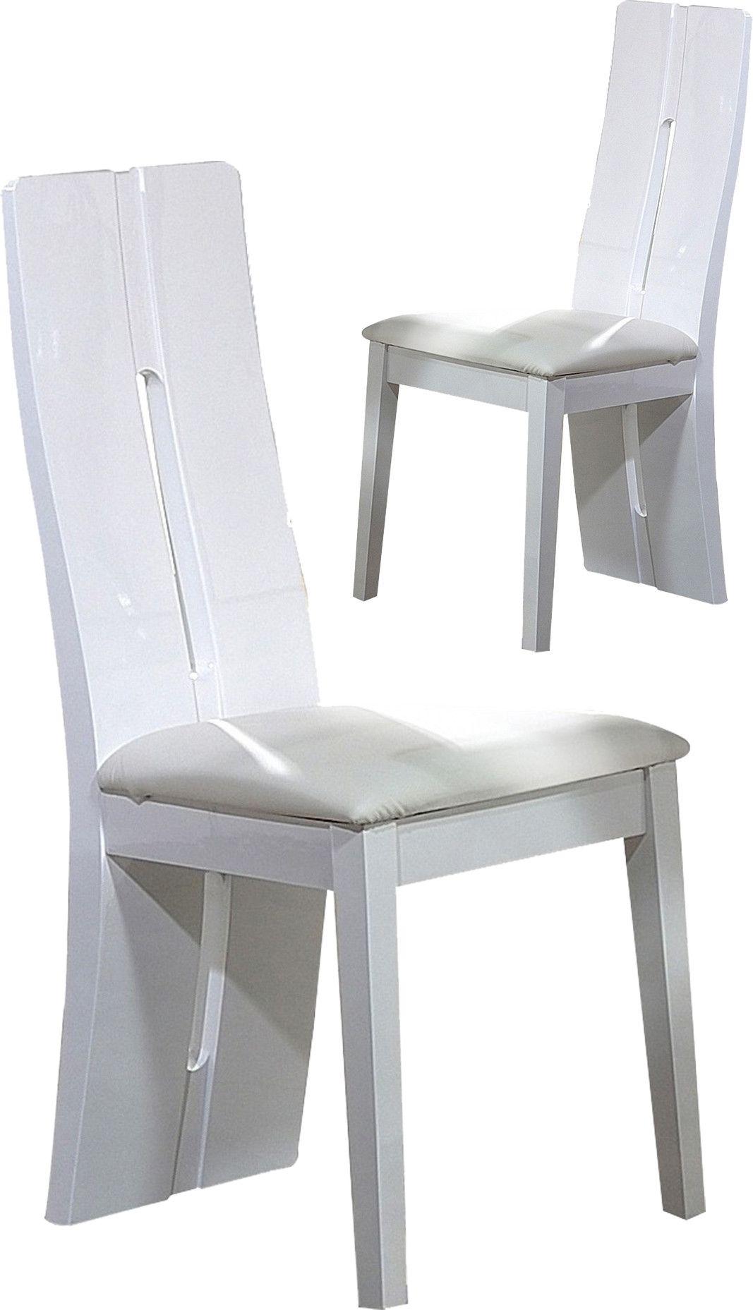Lot De 2 Chaises Design Blanc Laque Chaises De Salle A Manger Design Salle A Manger Design Chaise De Salle A Manger