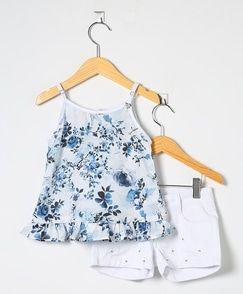 Conjunto Infantil Bata e Short Floral Azul