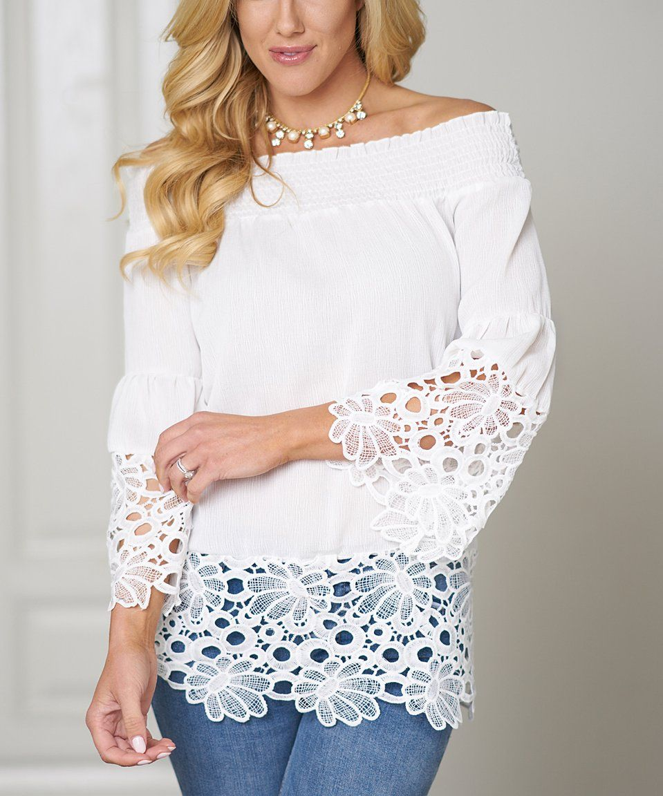 8352b48cf8bbe9 Take a look at this White Lace-Trim Bell-Sleeve Off-Shoulder Top - Women &  Plus today!