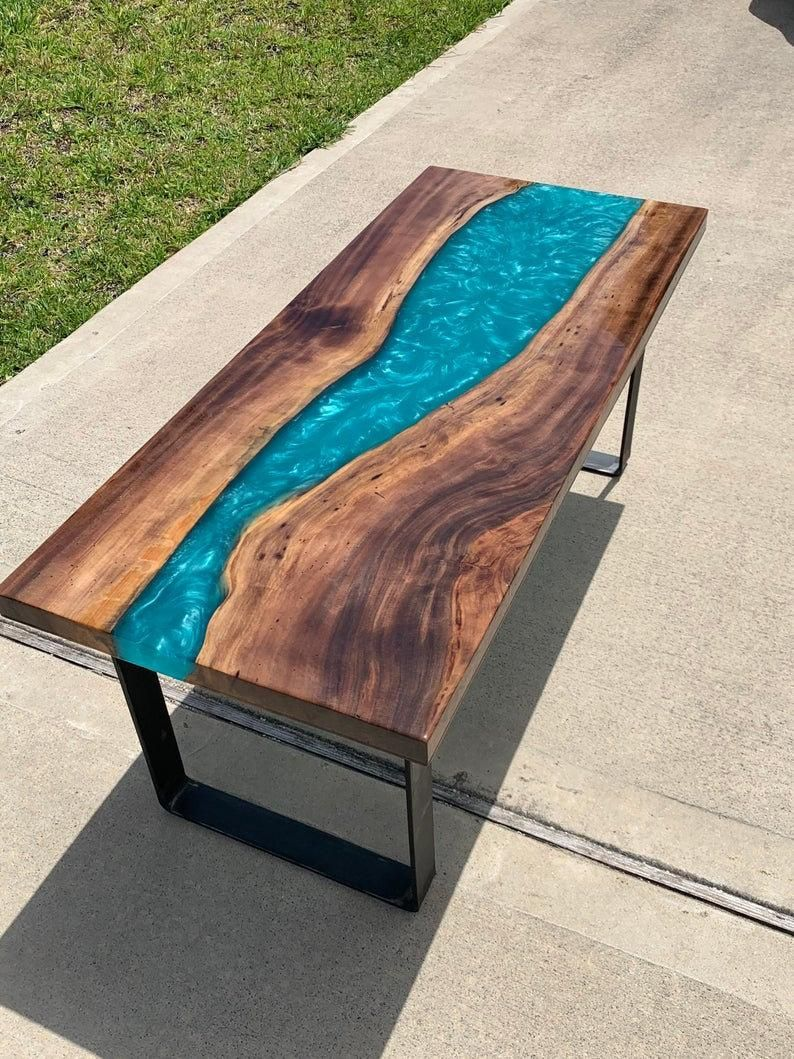 Custom Epoxy Resin River Coffee Tables Your Custom Size Etsy Wood Resin Table Resin Furniture Coffee Table Redo [ 1059 x 794 Pixel ]