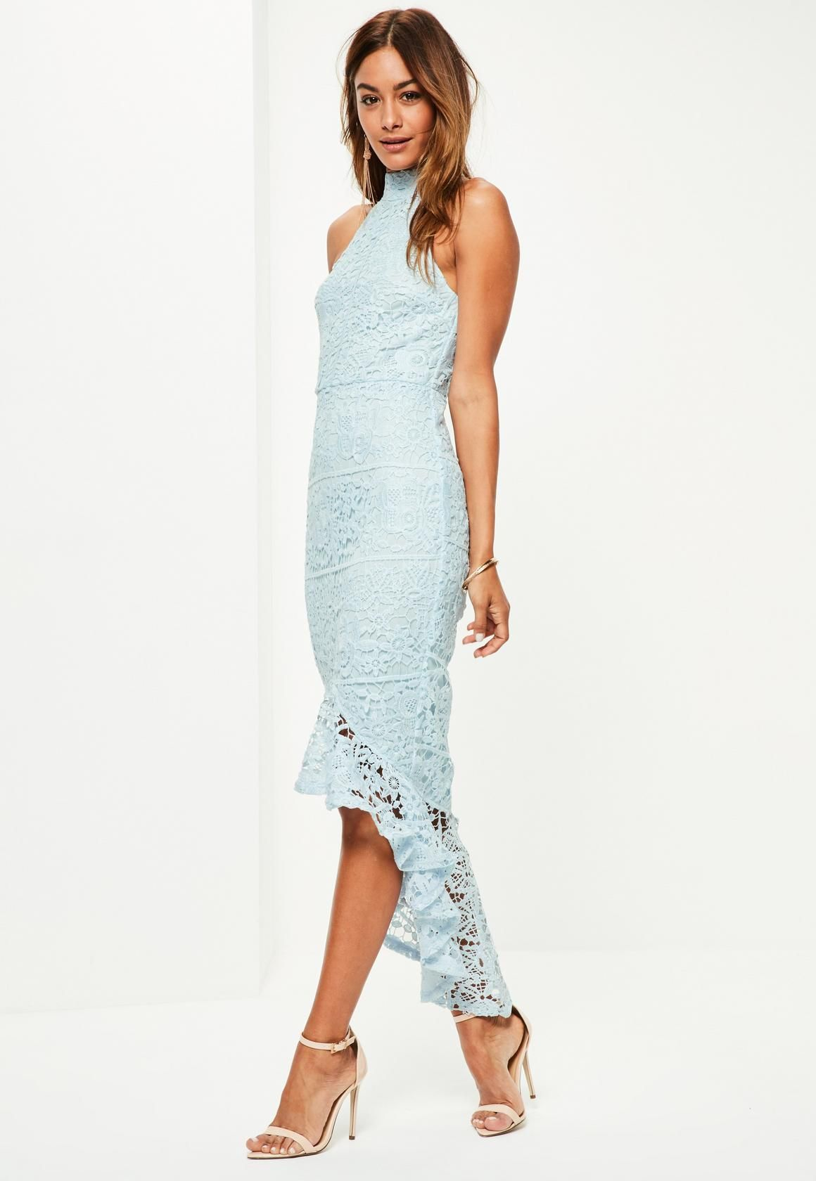 Missguided - Blue Lace High Neck Fishtail Midi Dress