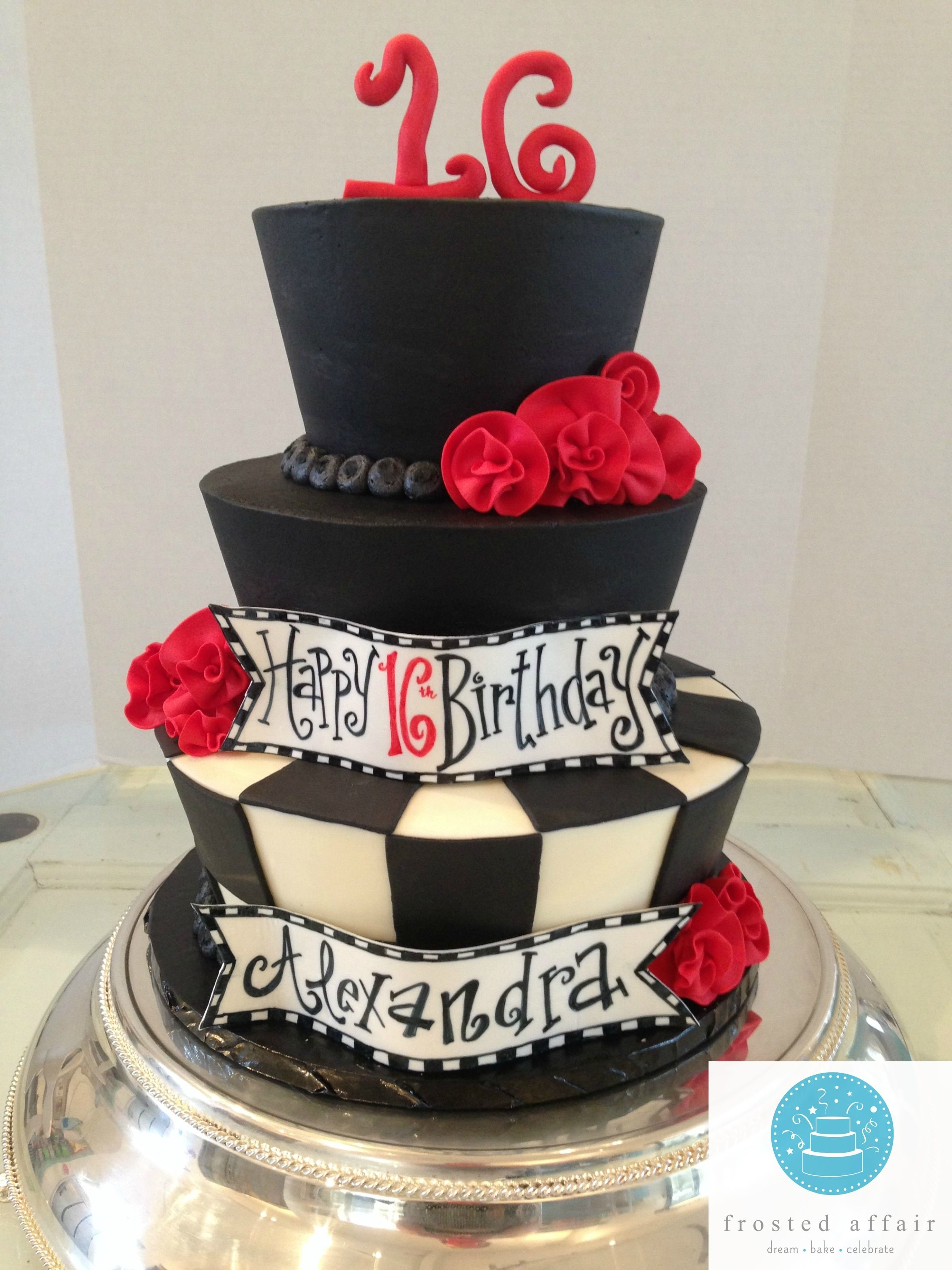 Mad Hatter Black And White Cake With Red Roses For Sweet