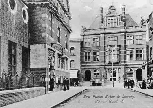 Bow Library on the corner and Bow Public Baths, taken from Vernon Road looking north, circa 1905