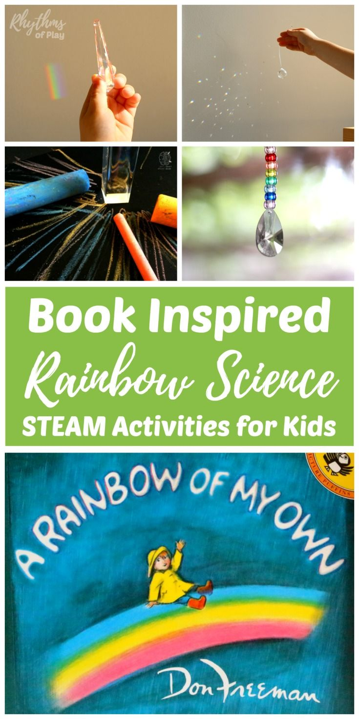 Book Inspired Rainbow Science STEAM Activities for Kids is part of Kids Crafts Science How To Make - Teach children how rainbows are made with these super fun book inspired rainbow science activities for Kids  Children can learn about the science of rainbows and how to create them using a light source and a prism, or a CD  Increase understanding with rainbow STEAM activities for kids