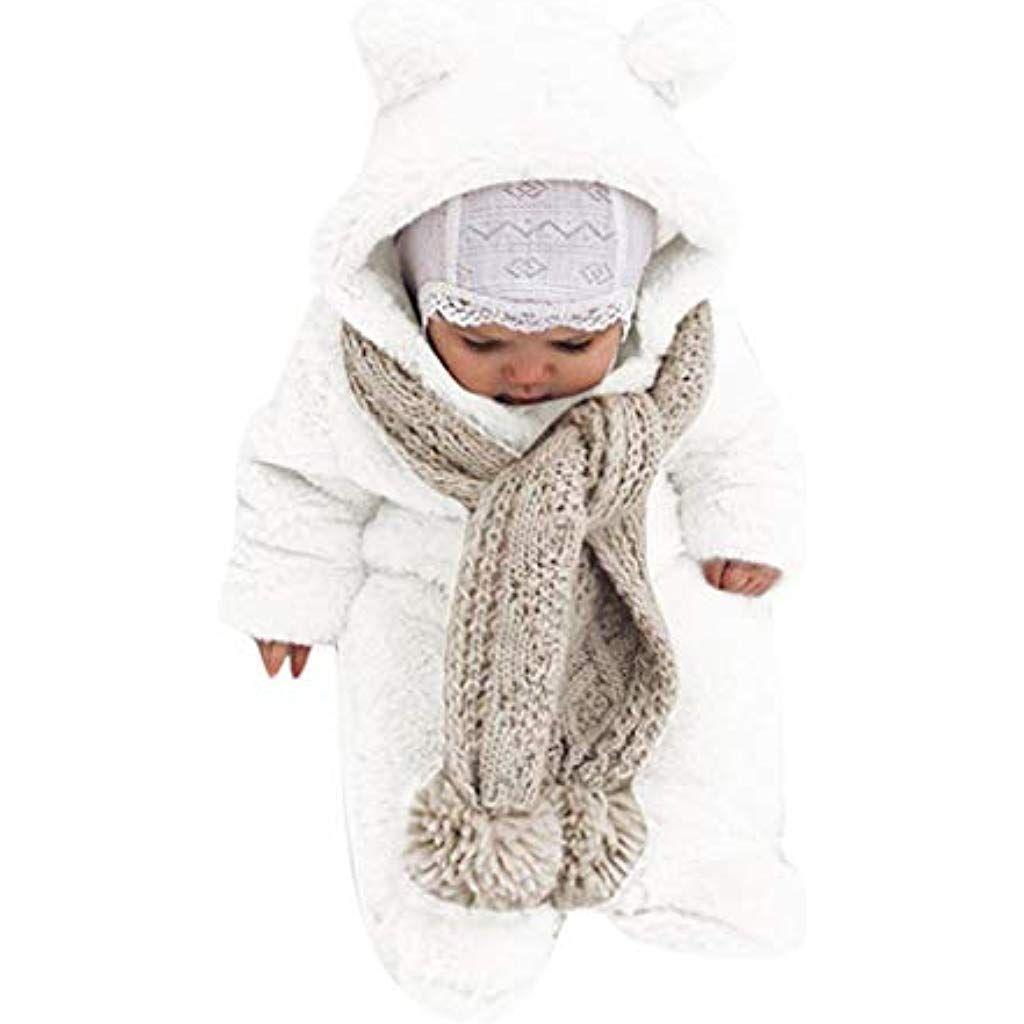 Combinaisons de Neige Bebe Gar/çon Manteau Polaire Bebe Fille Doudoune avec Capuche Hiver Chaud Vetements Bebe 0-24 Mois Bonjouree