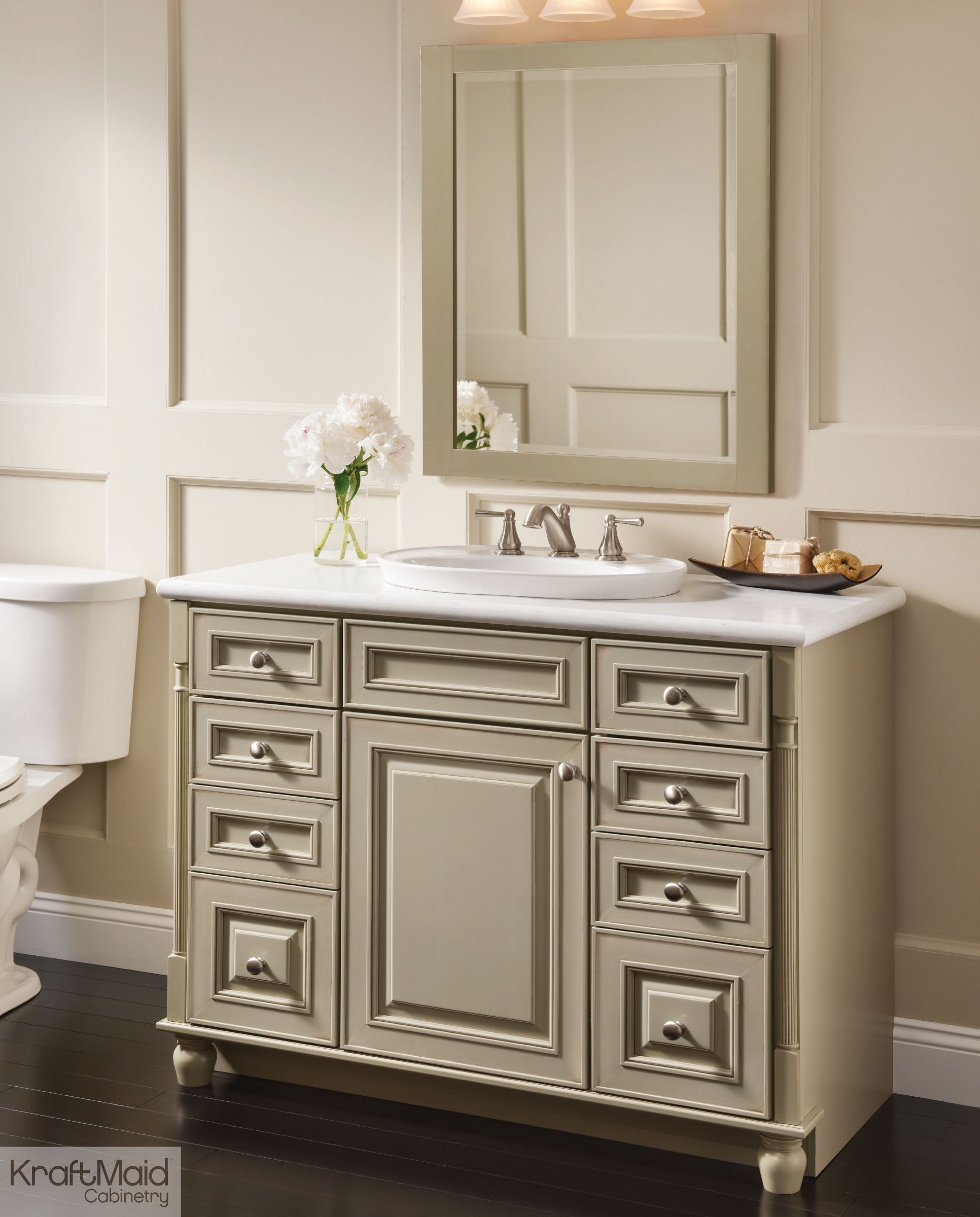 Great With A Premium Finish Of Willow With Cocoa Patina, This KraftMaid Vanity Is  The Hero