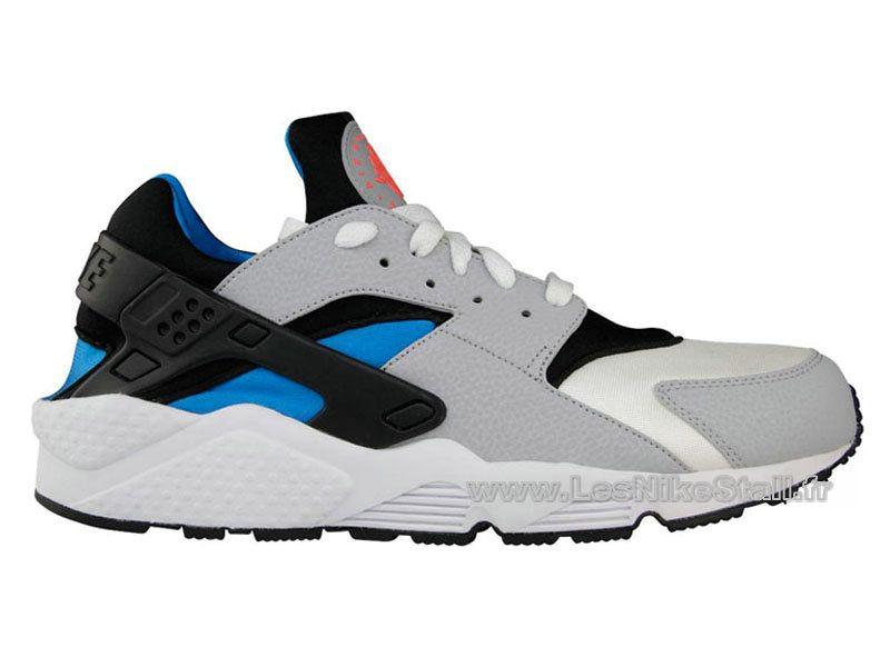 new style 2be9e 3ad12 Officiel Nike Air Huarache Chaussures Nike Pas Cher Pour Homme Wolf Gris  Noir Bleu