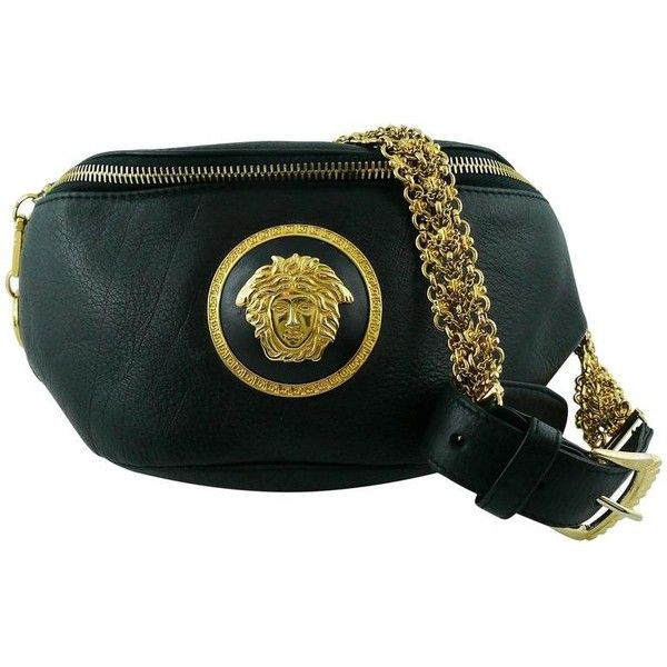 Preowned Gianni Versace Vintage 1990s Black Leather Medusa Waist-belt...  ( 953) ❤ liked on Polyvore featuring bags b3f0480f662aa