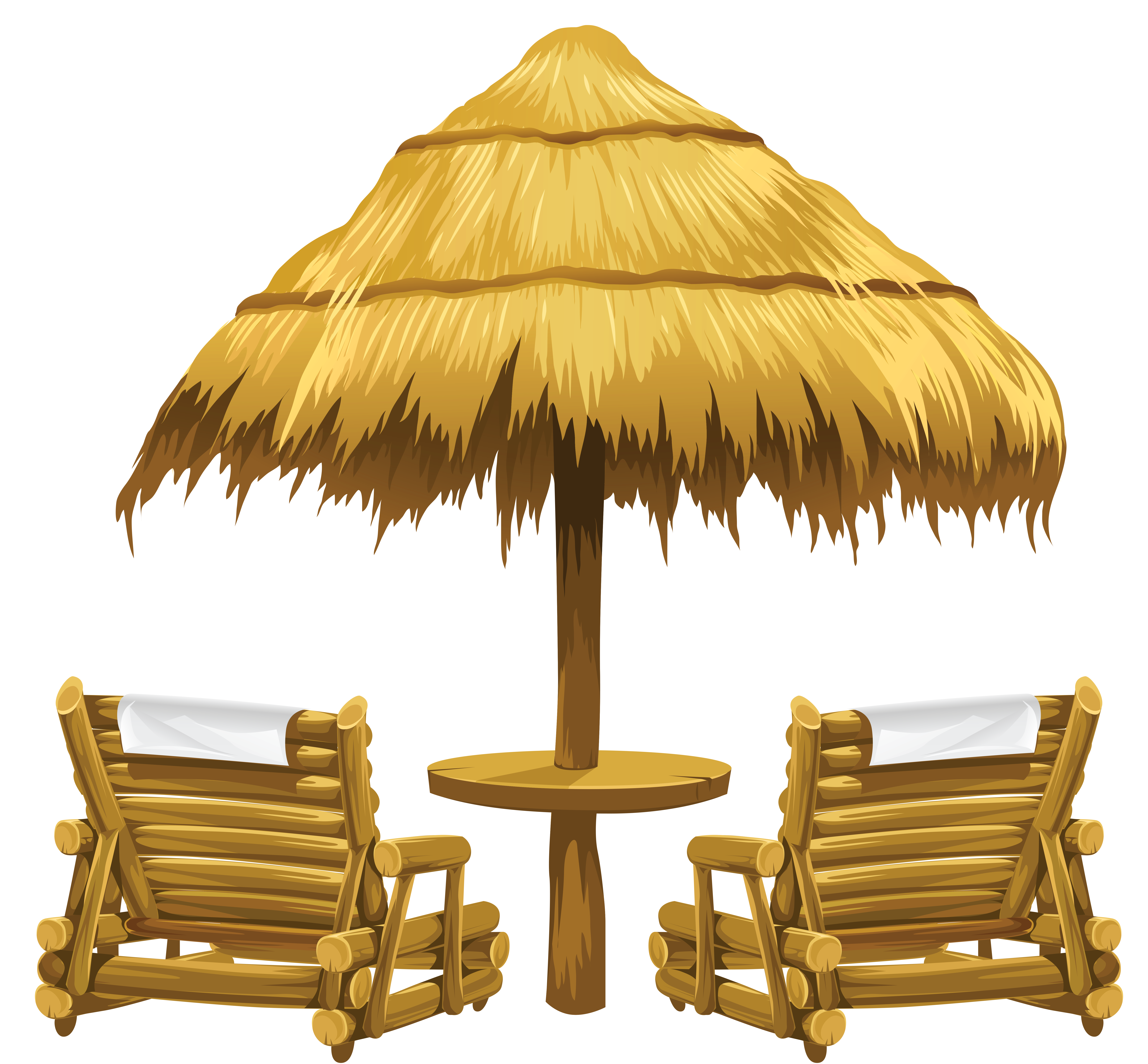 Transparent Tiki Beach Umbrella And Chairs Png Clipart Beach Clipart Beach Lounge Chair Clip Art
