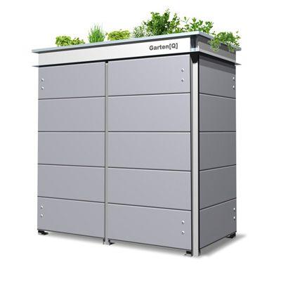 Gartenhaus mit cooler Dachbegrünung Mülltonnenbox