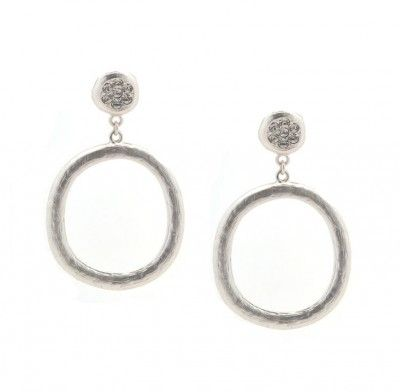 Silver crystal hoop drop earrings $22