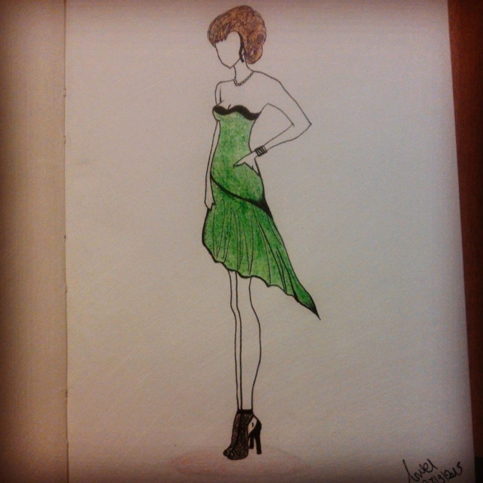 fashion designing, fashion illustration, fashion, dress, illustration, shoes, green, figure, person, model, mode, woman, girl