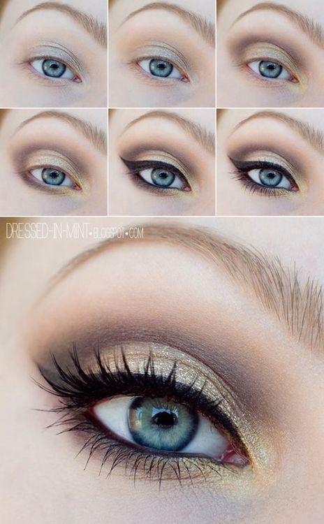 Golden brown eye makeup for blue eyes #tutorial #evatornadoblog