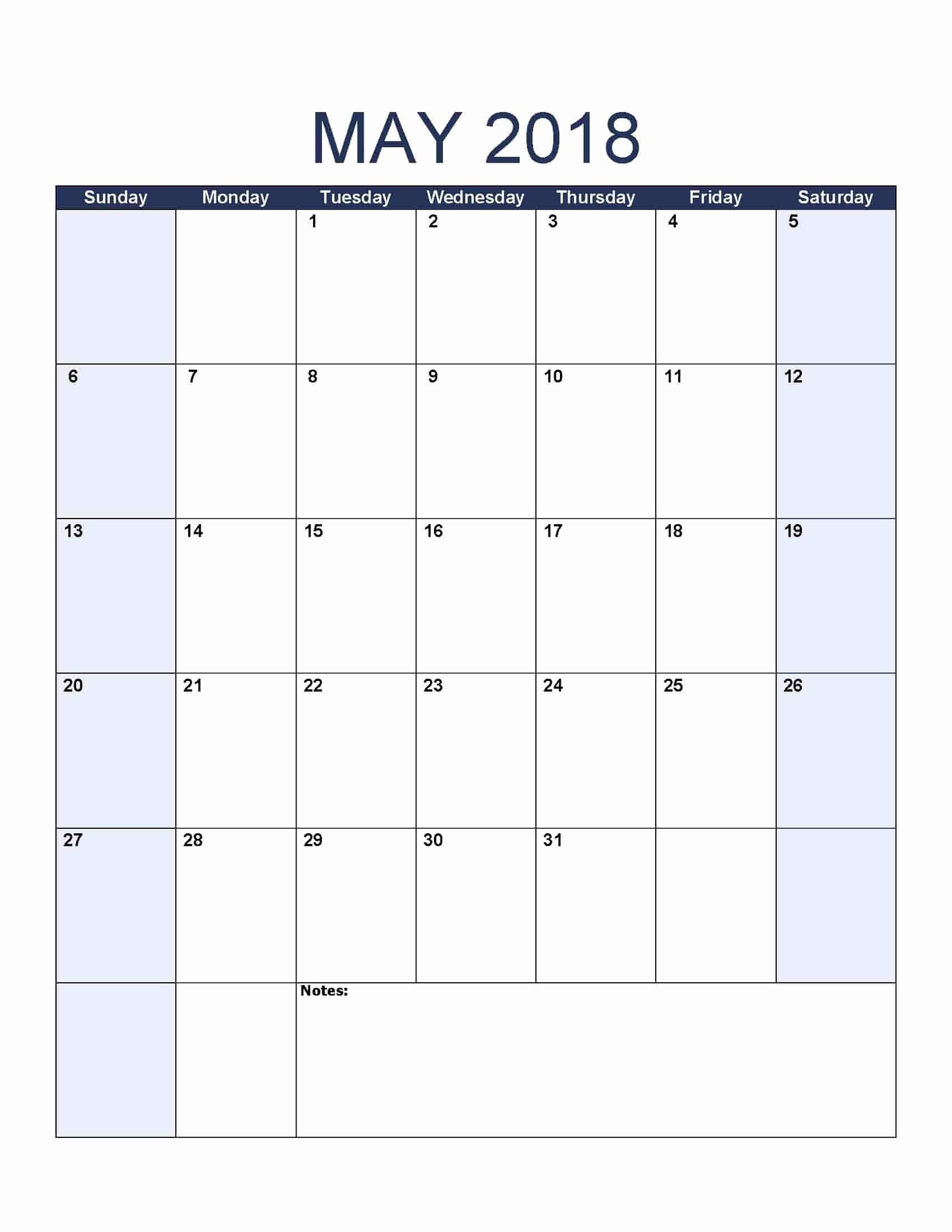 Print Free Calendar Template Awesome May 2018 Calendar Free