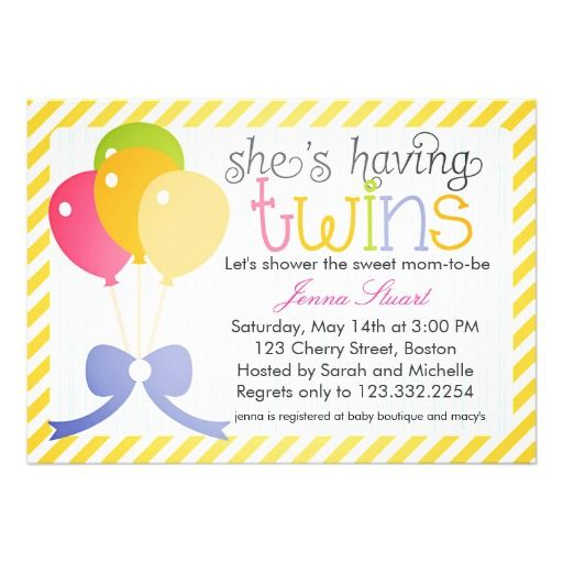 Twins Baby Shower Colorful Balloons Invites Balloon Baby Shower