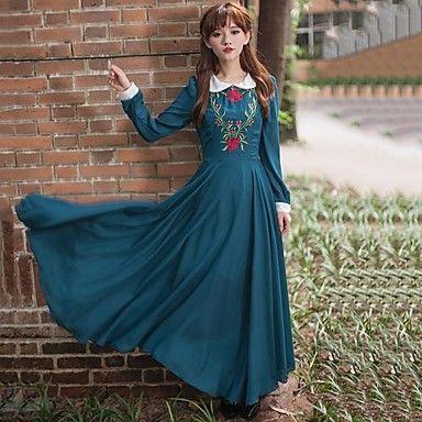 Sagetech@Women's Peter Pan Collar Elegent Long Dress