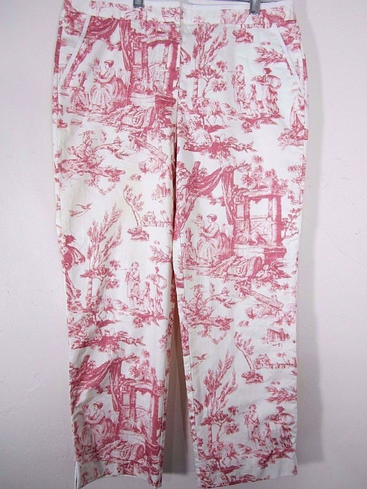 5c822c0854 J. Crew Womens 6 Favorite Fit Capri Pants Casual French Country Toile Pink  Ivory #JCrew #CaprisCropped