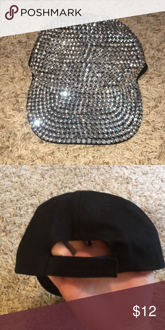 d2d6a1508be Rhinestone Hat Covered in rhinestones in the front half and plain black in  the back.