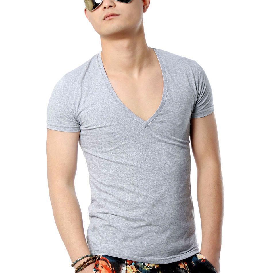 Zecmos profondo scollo a v sexy uomo t-shirt vintage manica corta di colore solido muscle fit uomini della maglietta top t moda