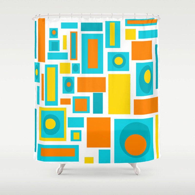 Modern Shower Curtain, Geometric Shower Curtain, Mid Century Modern ...