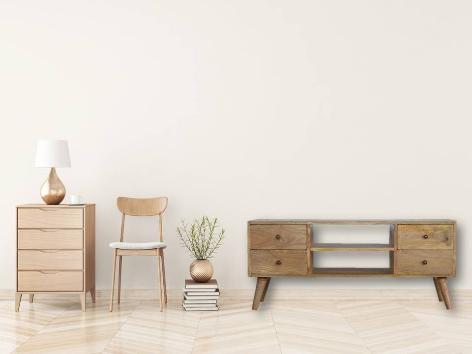 Please Check Out Our Stunning Nordic Style Media Unit Constructed From 100 Solid Mango Wood In An Oak Ish Finish We Furniture Wood Media Unit Home Furniture