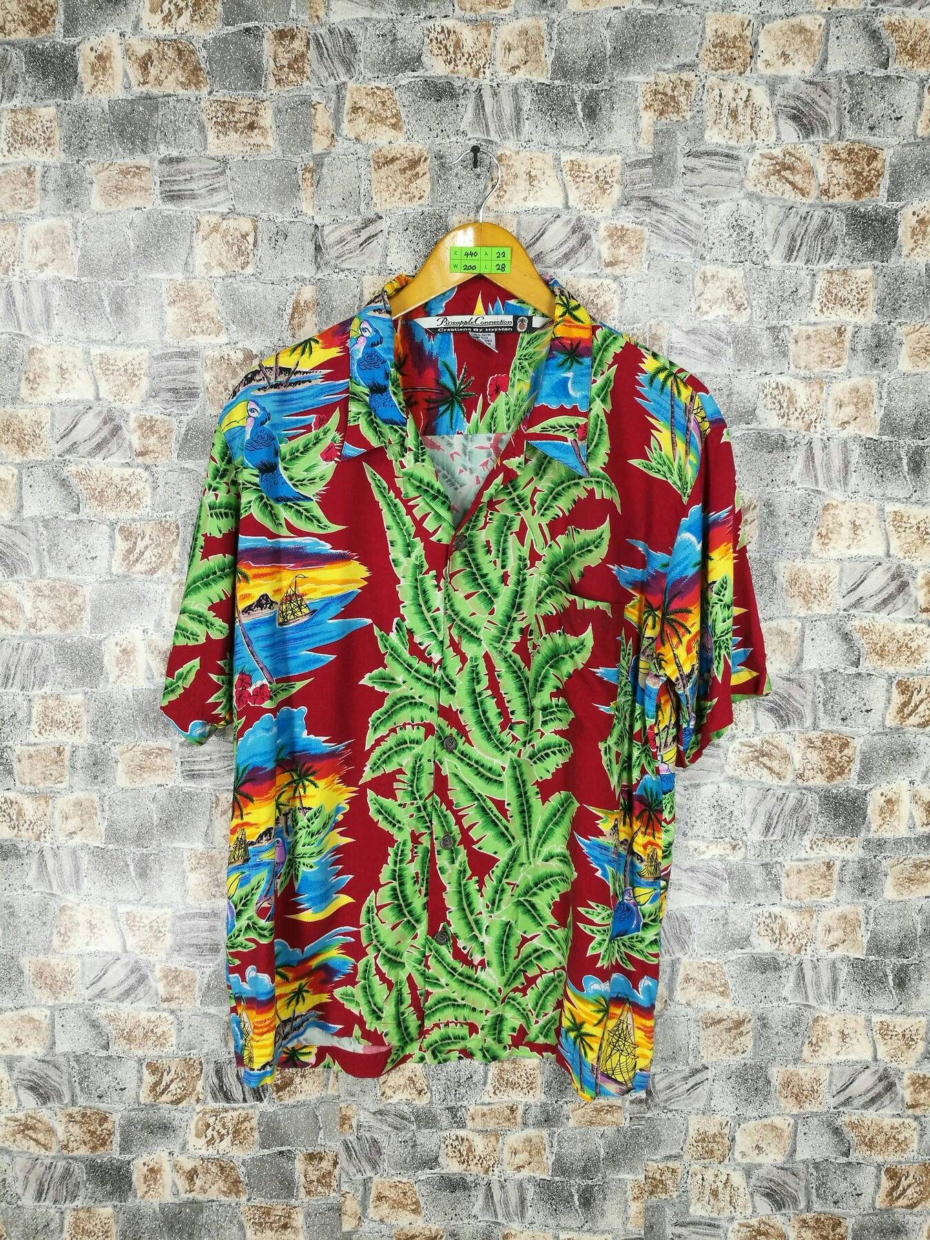 6a714756 Vintage 80's Pineapple Connection Hawaiian Shirt Medium Aloha Beach Shirt  Multicolour Surfing Sailing Honolulu Usa Rayon
