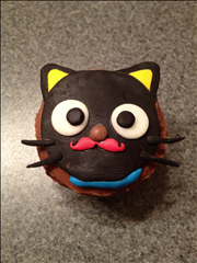 Choco Cat with Red Mustache Cupcake