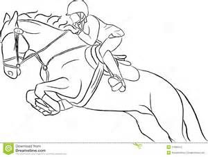 simple horse drawings jumping sketch template