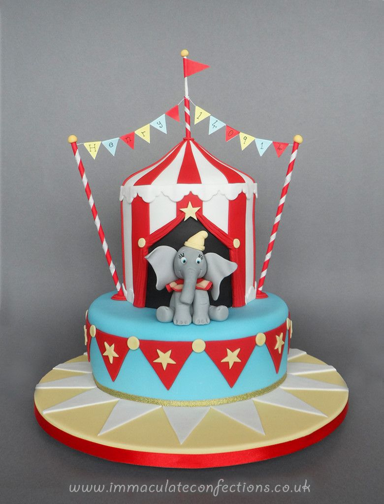 Enjoyable Dumbo Circus Christening Cake Cakes By Natalie Porter Personalised Birthday Cards Veneteletsinfo